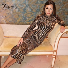 Vicente HOT 2018 New Chic Gorgeous Golden Sequins Embellished Long Sleeves Wholesale Women Celebrity Party Maxi Long Dress