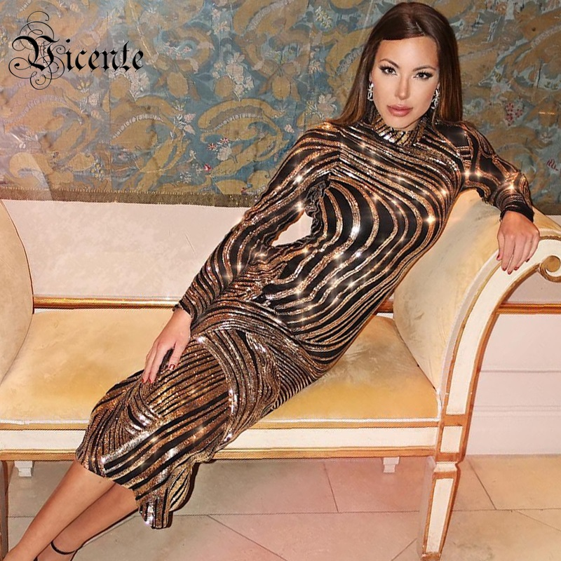 Vicente HOT 2019 New Chic Gorgeous Golden Sequins Embellished Long Sleeves Wholesale Women Celebrity Party Maxi Long Dress