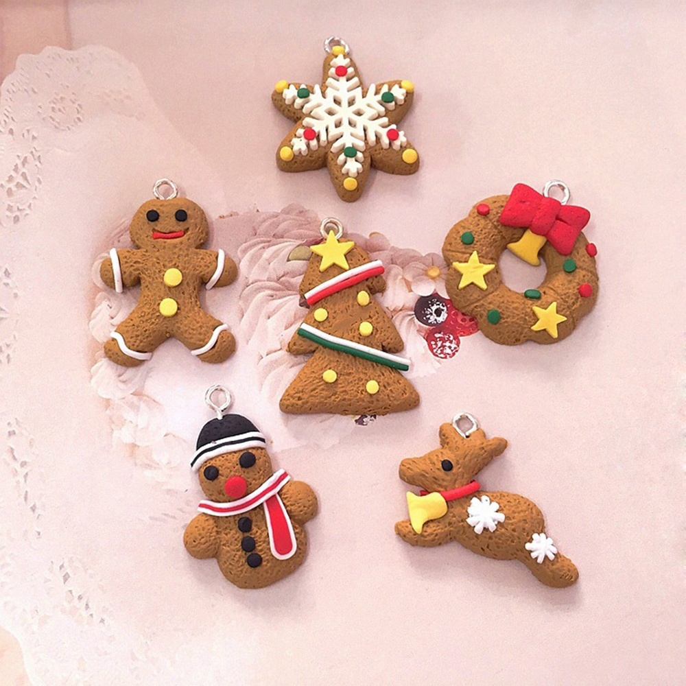 Hot Sale New Fashion 6 pcs Cute Christmas Tree DIY Decor Clay Pendants 6Pcs Hanging Ornament Party Xmas Gift High Quality