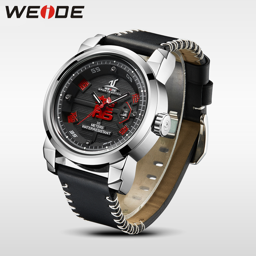 купить WEIDE New Arrival Sport Quartz Watch Men Water Resistant watches Calendar Chinese Dragon Genuine Leather Strap relogio masculino по цене 2218.76 рублей