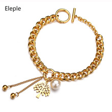 Eleple Stainless Steel Hollow Life Tree Imitation Pearl Pendant Bracelet Lady Charm Tassels Gold Color Hand Chain Jewelry S-B169