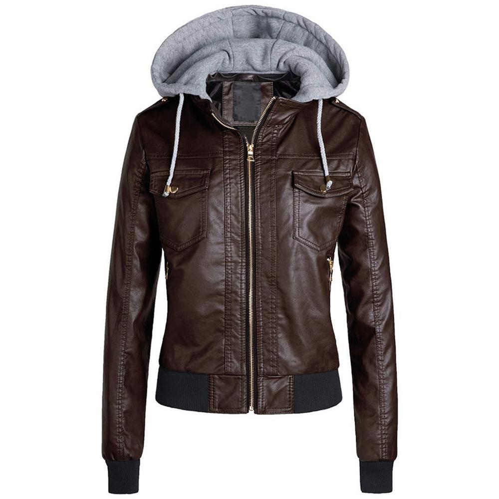 jacket Women Slim Leather Jacket Removable Zipper Caps Hooded Warm Short Coats Outwear jaqueta feminina chaqueta mujer Q60