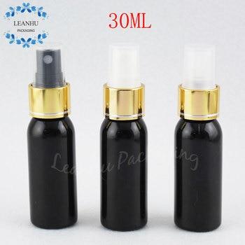 30ML Black Plastic Bottle With Gold Spray Pump , 30CC Makeup Water / Toner Packaging Bottle , Makeup Sub-bottling ( 50 PC/Lot )