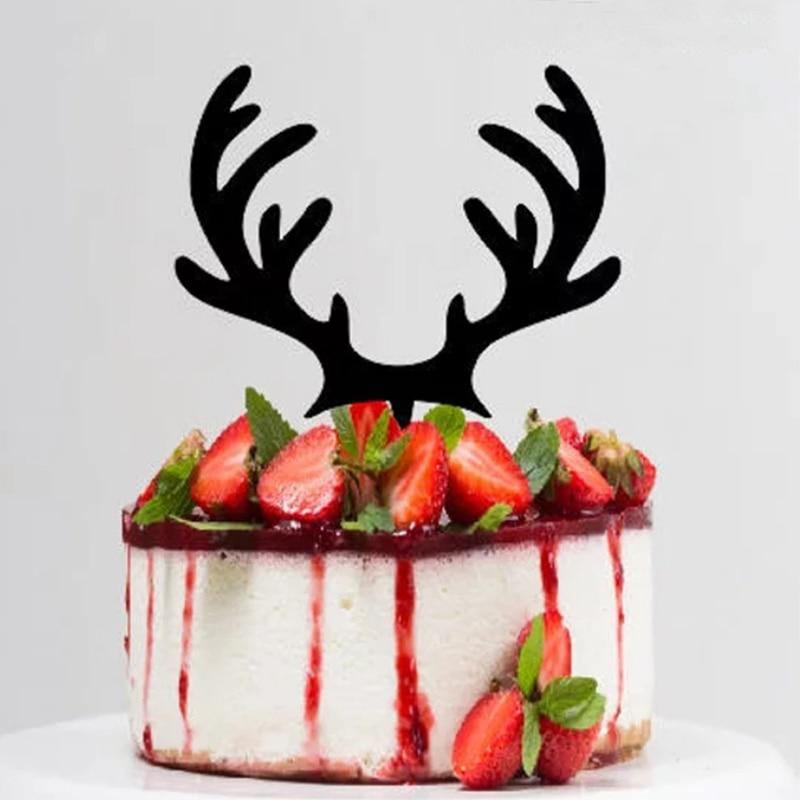 Remarkable 3Pcs Deer Elk Happy Birthday Cake Topper Party Decor Paper Glitter Birthday Cards Printable Inklcafe Filternl