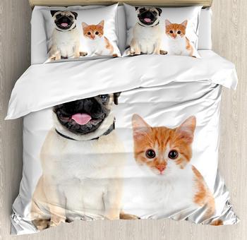 Набор пододеяльников с Мопсом, двойной размер, восхитительный котенок и щенок, для фотографии милых животных, веселых молодых питомцев, сча