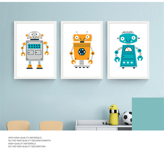 Jaune Gris Et Bleu Humains Comme Intelligent Robots Toile Peinture