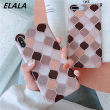 ELALA Glossy Grid Phone Case For iPhone X XS Max XR Silicone Granite Geometry Cover 6 6s 7 8 Plus Glitter Marble