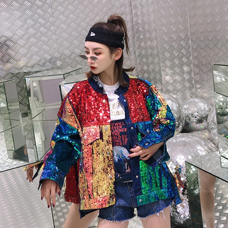 SexeMara fashion The New rainbow Color matching Heavy work Sequin Loose Burr denim jacket free shipping