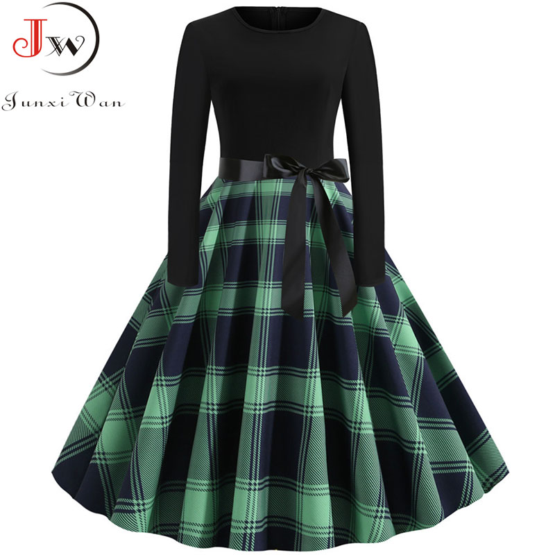 Women Long Sleeve Plaid Print Winter Dress Casual Black Patchwork Vintage Rockabilly Dress Robe Slim Elegant Party Vestidos