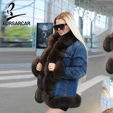 FURSARCAR 2018 Fashion Women Parka Fur Coat Winter Real jacket Thick Warm Natrual Fox Collar Parkas
