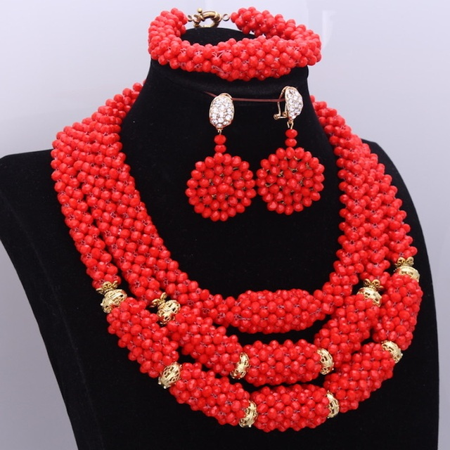 African Jewelry Set Beads Hot Red Balls Crystal Beaded Majalia Jewelry Sets For Bridal Party Women Free Shipping 2018 Layers Set