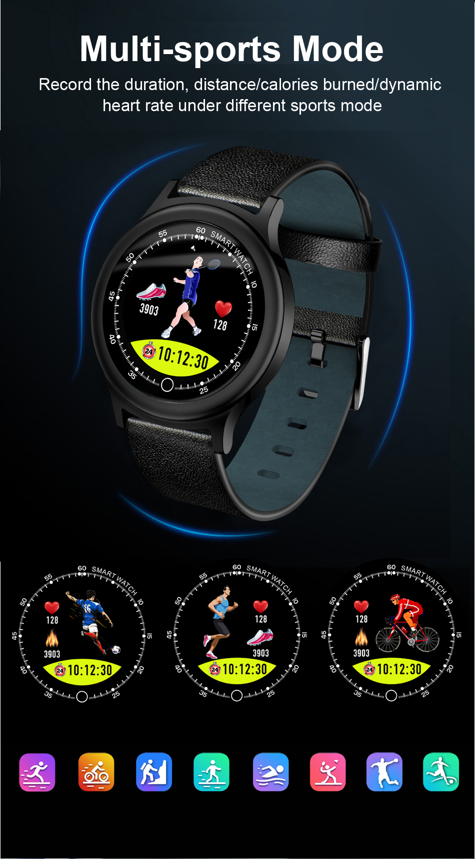 Q28 Smart Watch IP67 Waterproof Wearable Device Bluetooth Pedometer Heart Rate Monitor Men Fashion SmartWatch For AndroidIOS (7)
