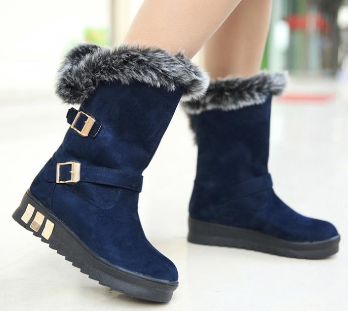 Winter New Fur In tube Snow Boots Women Buckle Ride Flat Cotton ...
