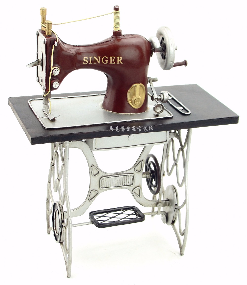 Vintage Iron Crafts Decorative Ornaments Of Pure Handmade Antique Sewing Machine Model Creative Gift Home Furnishing Decorations