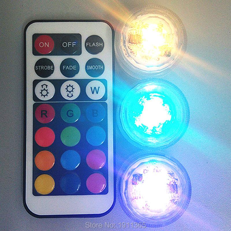 20pcs Γάμος LED διακόσμηση Τηλεχειριστήριο Υποβρύχιο LED τσάι Μίνι φως με μπαταρία Party Table Χριστουγεννιάτικο βάζο Ναργιλές Shisha