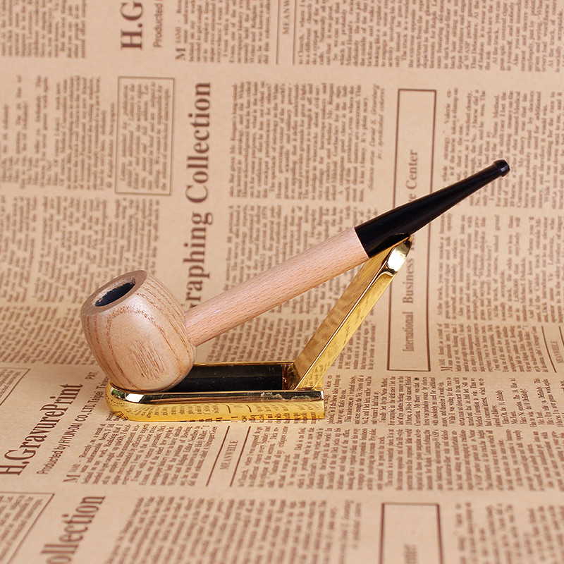 Creative Wood Solid Wood Pipes Portable Tobacco Pipe Smoke Filter Smoking Pipe Mouthpiece Cigarette Holder