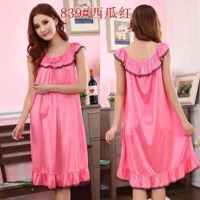 Женские летние свободные пижамы плюс размеры белье пикантные длинные ночная  рубашка Атлас Кружево рюшами ночные рубашки 264aadc8b9e44