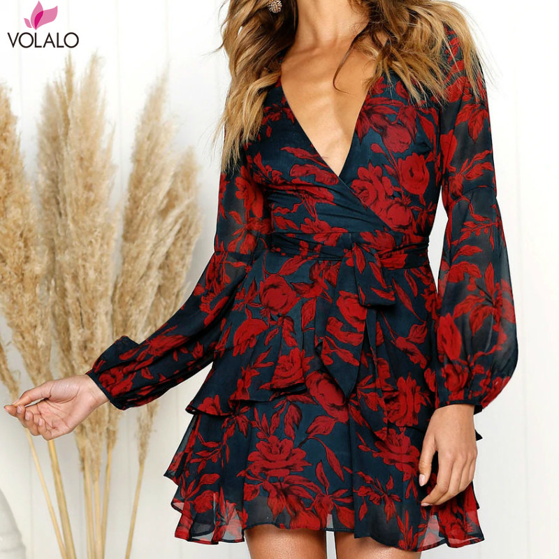 Women <font><b>Dress</b></font> 2019 Spring Autumn <font><b>Sexy</b></font> <font><b>V</b></font> Neck <font><b>Floral</b></font> <font><b>Print</b></font> <font><b>Dress</b></font> <font><b>Boho</b></font> Style <font><b>Short</b></font> Party <font><b>Beach</b></font> <font><b>Dresses</b></font> Vestidos De Fiesta image