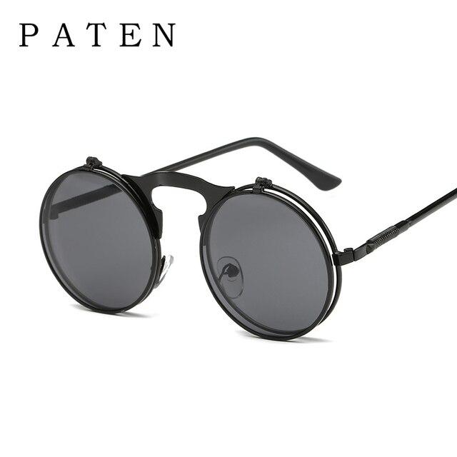 32a1d1b4ffad7 Homens Pequeno Rodada Steampunk Óculos De Sol Do Metal Gótico Fresco Virar  Para Cima Lente Tinted
