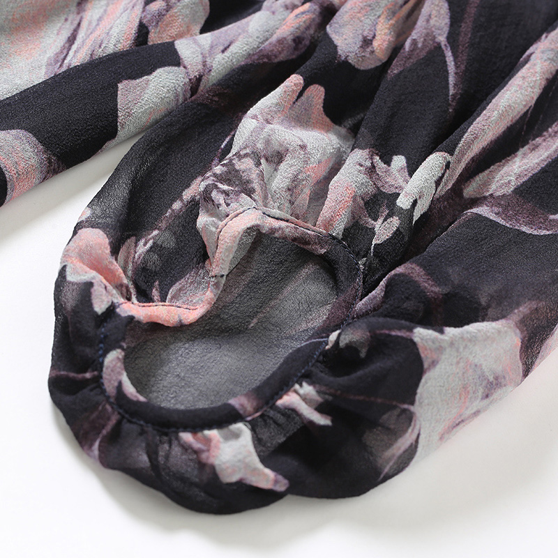 100% размера плюс шелковая блузка Женский Топ простой дизайн круглый вырез рукава Свободный Топ Новая Мода Высокое качество шелковые блузки 2019 - 6
