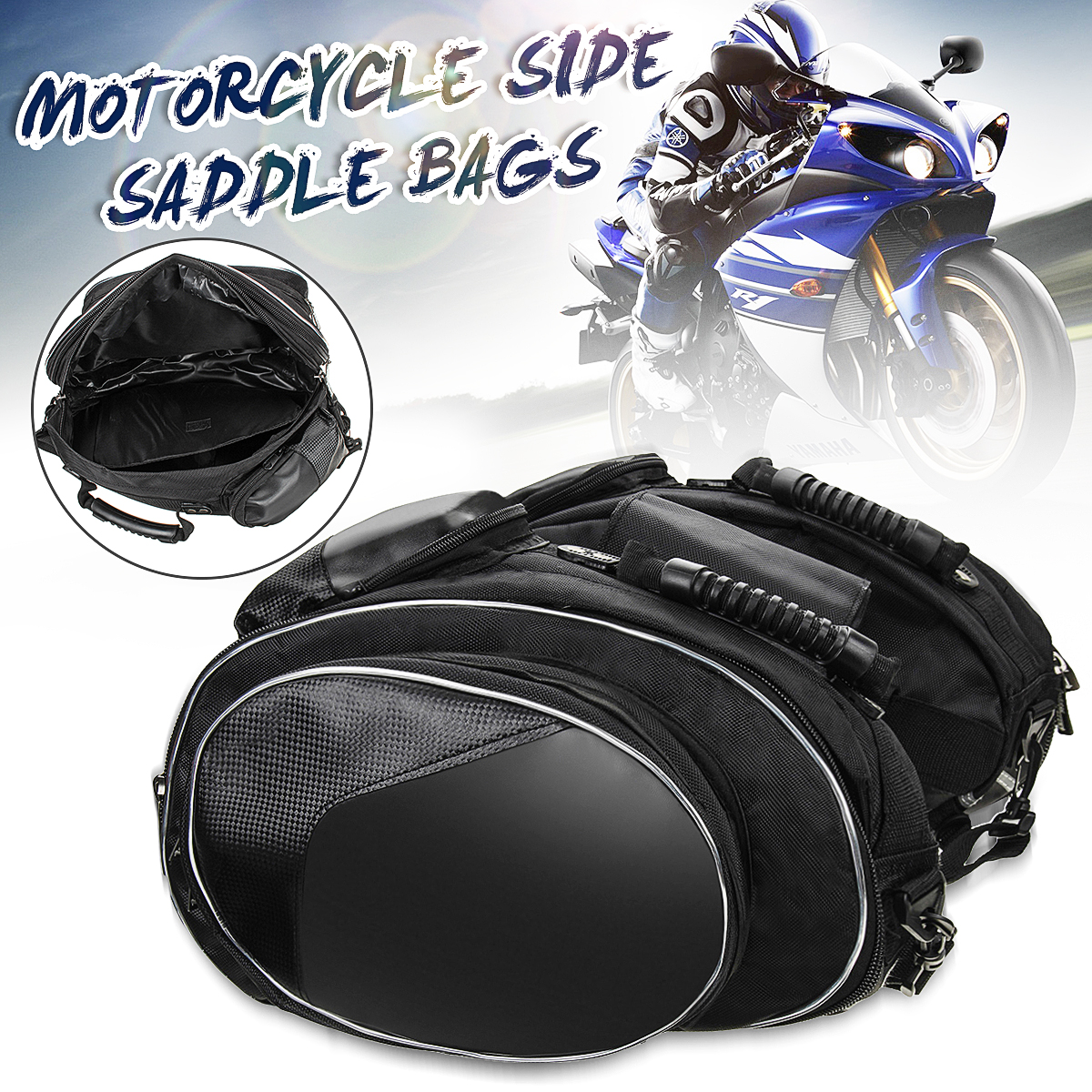 1 Pair Motorcycle Side Saddle Bags Package Bag Black With Waterproof Cover for Motorcycle Mountain Bike Bike Handheld Bag motorcycle capacity luagge side bag leather saddle bag dual sport bike chopper