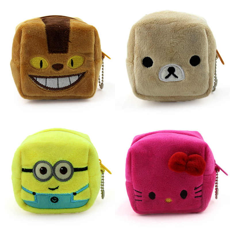 915ec6167c 8cm Cartoon Cube Totoro Kitty Children Zipper Coin Bags Women Mini Storage  Pouch Grils Cute Wallets