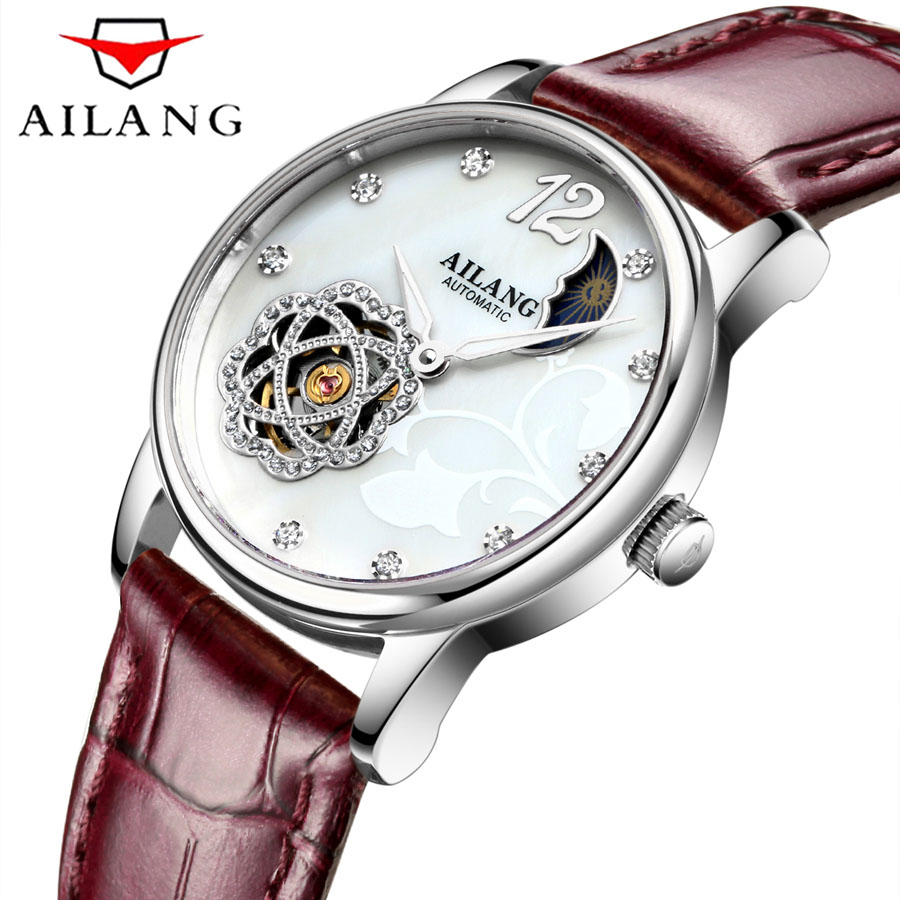 Fashion Casual Womens Watch Luxury Top Brand Leather Ladies Watches Waterproof Automatic Mechanical Watch For Women Montre Femme top brand binger fashion casual watch female form hollow automatic mechanical watches self winding women waterproof leather