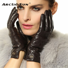 цена на Fashion Women Touchscreen Gloves Real Genuine Leather Winter Plus Velvet Driving Touch Glove Promotion Free Shipping EL026NQF1