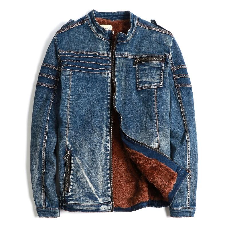 Mens Denim Jeans Zipper Coats Jacket Fleece Liner Thick Winter Motorcycle Peacoat Outwear Slim Fit New A418