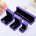 Quality Plush Purple Velvet Engagement Wedding Ring Deluxe Gift Jewelry Box Ear Ring bracket bangle Storage Holder Cases