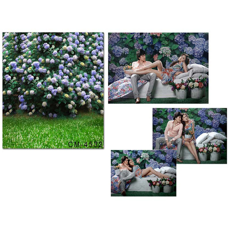 Wedding Photography Background Purple Flowers Grassland Birthday Photo Backdrops Green Leaves Background for Photographic Studio