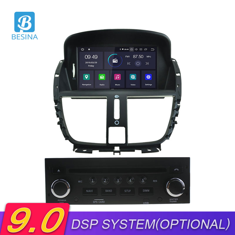 Besina Car DVD Multimedia Peugeot 207 Android 9.0 207CC Player 2008 2009 for GPS Wifi