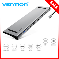 Vention All in 1 USB C Adapter Type C to HDMI VGA Converter USB HUB with SD/TF Card Reader PD Charging RJ45 Adapter for MacBook
