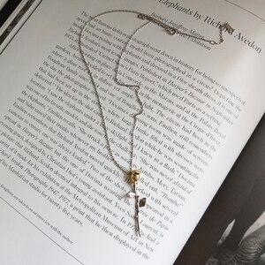 Image 4 - Louleur 925 スターリングシルバーローズ花ペンダントネックレス王子は、花のファッションネックレス女性のためのチャームジュエリー