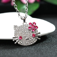 Tassina розовое золото цвет кристалл кошка hello kitty KT Длинные ожерелья в виде животных и подвески модные украшения для женщин MKSY00080
