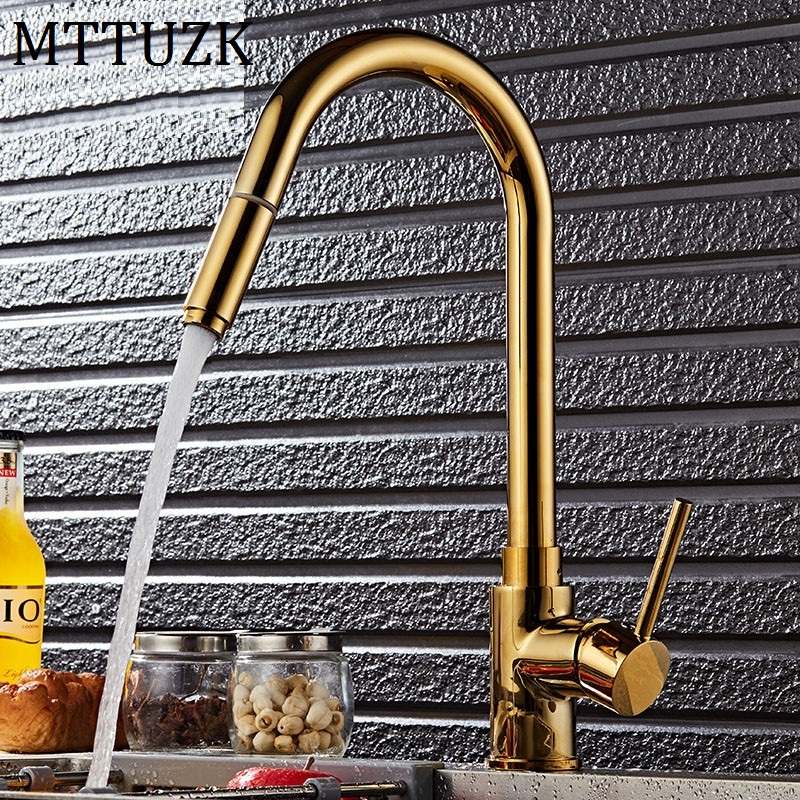 MTTUZK luxury Kitchen pull out faucet gold brass for cold and hot mixer tap Sink faucet