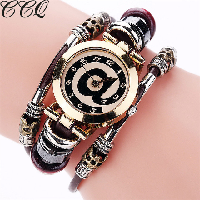 CCQ Fashion Vintage Cow Leather Bracelet Watches Casual Women Crystal Quartz Wat