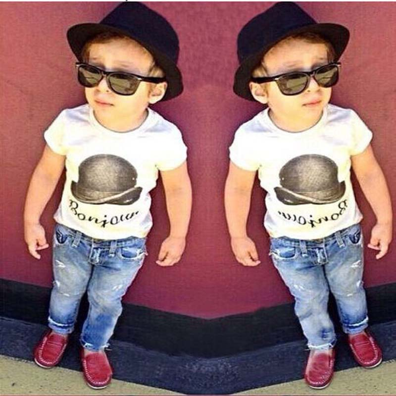Boys denim clothing sets kids boys handsome short-sleeved T-shirt+denim jeans 2 pieces children clothing set YAZ060F