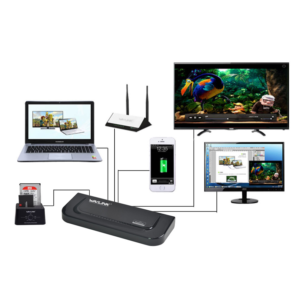 Wavlink USB 3,0 Universal Dual Display Docking Station soporte HDMI/DVI/VGA con 6 puertos USB externo Gigabit Ethernet HD 1080 p - 5