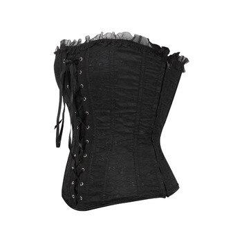 Lace cover overbust corset lace up boned lingerie Bustier 1