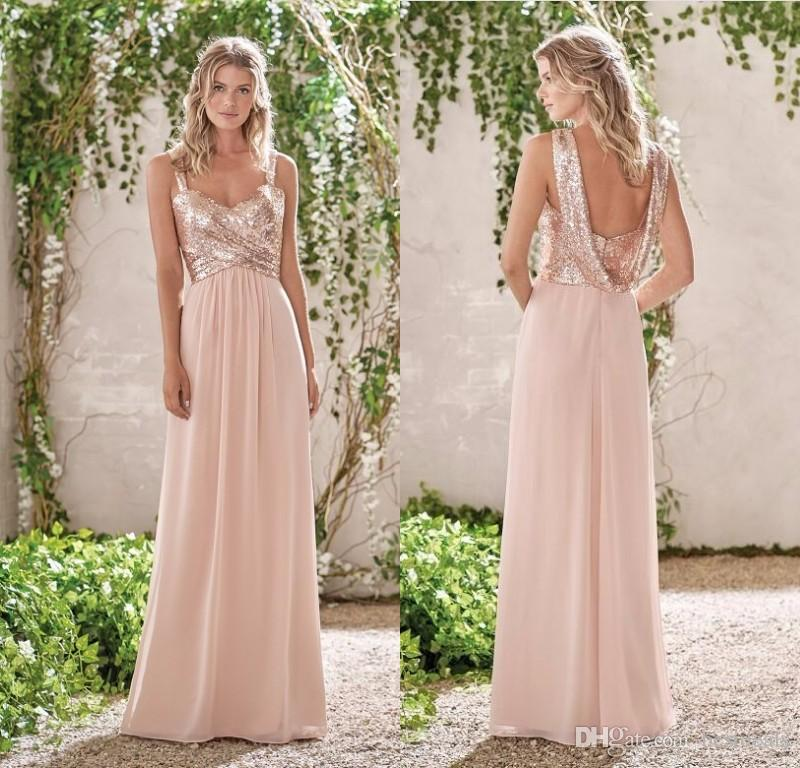 Buy 2017 new rose gold bridesmaid dresses for A line wedding dresses 2017