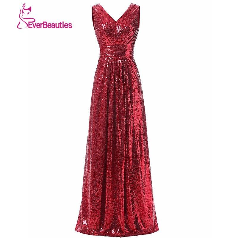 Rose Gold Sparkly Vestidos Longo Lantejoulas vestido de Decote Em V 2018  Vestido de Festa de Casamento Da Dama de honra Vestidos De Madrinha de  Casamento f75820404af34