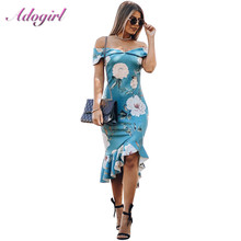 Casual Summer Floral Print Ruffles Boho Wrap Dress Women Sexy Strapless Off Shoulder Backless Party Club Dresses Outfit Vestidos