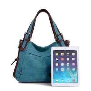 Image 4 - Bolso de hombro de lona para mujer, bandolera de mano con asa superior, grande, para compras/bandolera de viaje