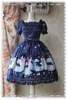 2016 сладкий Магия Чай вечерние медведь печати ОП Лолита платье Обувь для девочек милые шифоновые платья небесно голубой/синий/фиолетовый