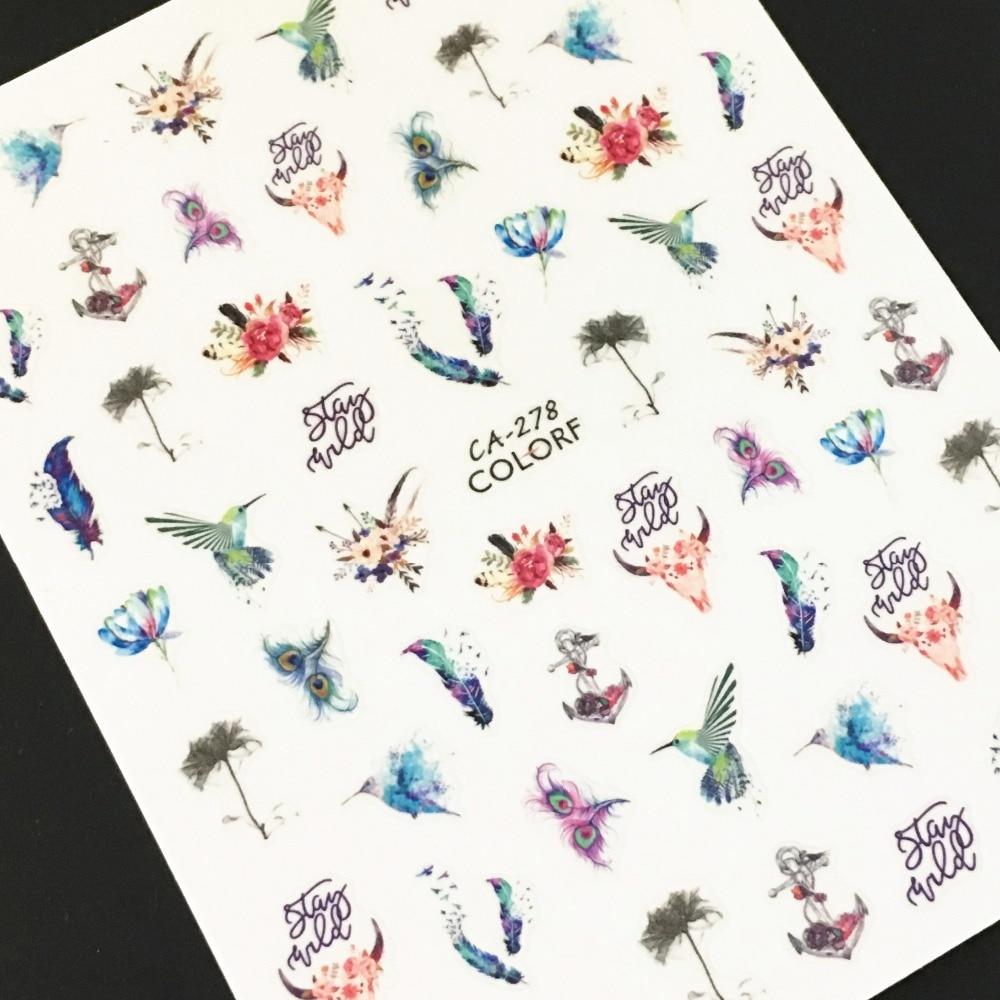 Newest CA-278 279 butterfly design 3d nail sticker art back glue decals rhinestones DIY decorations tools