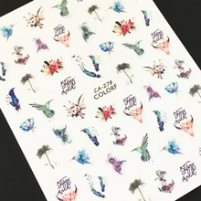 Newest CA-278 279 butterfly design 3d nail sticker back glue decals rhinestones DIY decorations tools