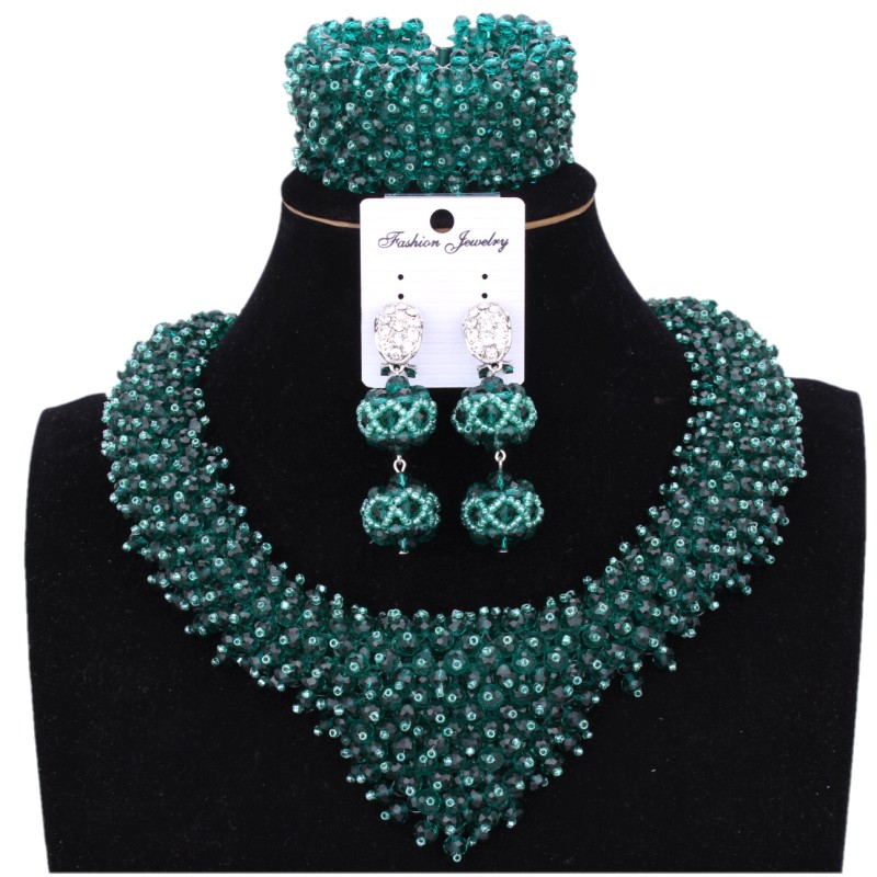 4UJewelry Teal Green African Beads Necklace Earring Set Of Jewelry Nigerian Wedding Bridal Heart Design Jewellery Set Dubai 2018 punk style solid color hollow out ring for women