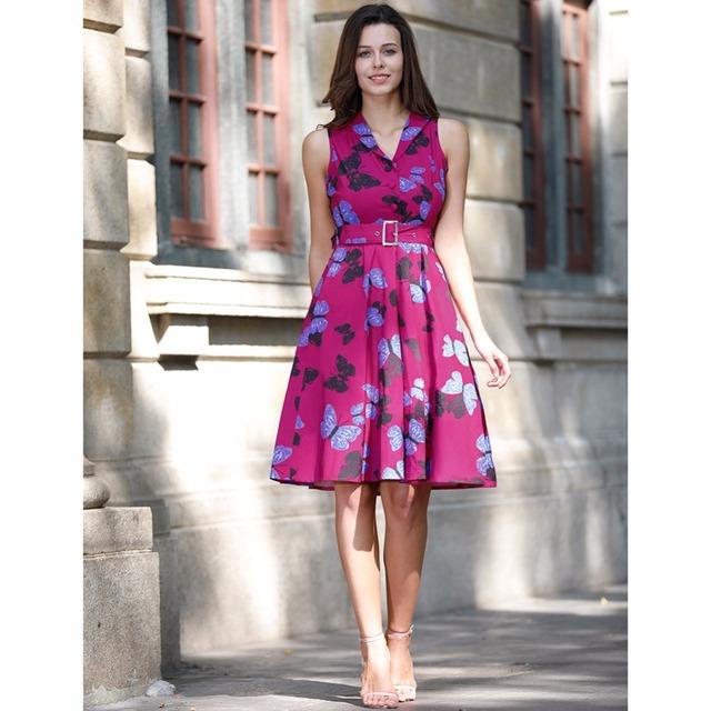 Rockabilly Sleeveless Elegant Floral Dress