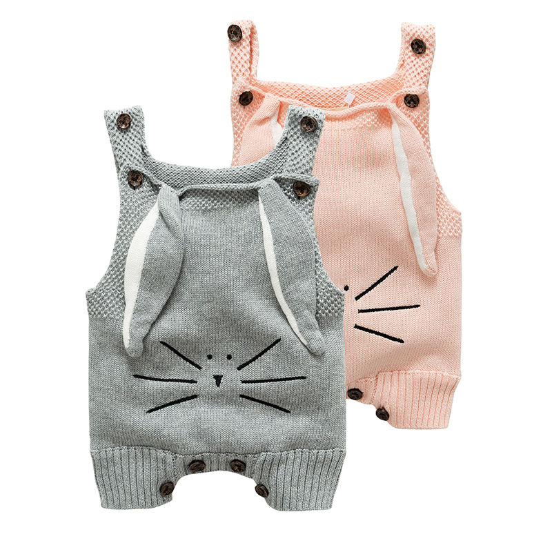 2019 Spring Autumn Baby Romper Long Ears Knitted Cotton Sleeveless One Piece Jumpsuits Overalls